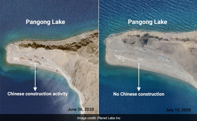 Partial Chinese Withdrawal From Fingers Area Along Pangong Lake: Satellite Pics