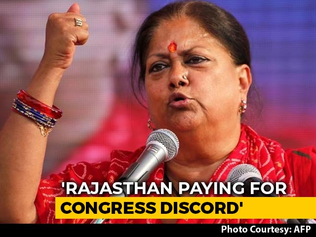 "Video : ""Rajasthan People Are Paying For Congress Discord"": BJP's Vasundhara Raje"