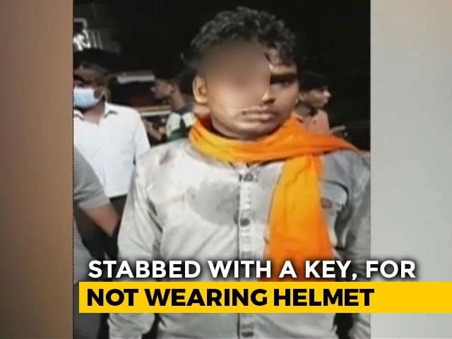 Video : Key Allegedly Stabbed Into Man's Forehead Allegedly For Not Wearing Helmet