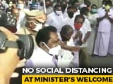 Video : Watch: Supporters Ignore Safety Norms To Welcome Covid-Recovered Minister
