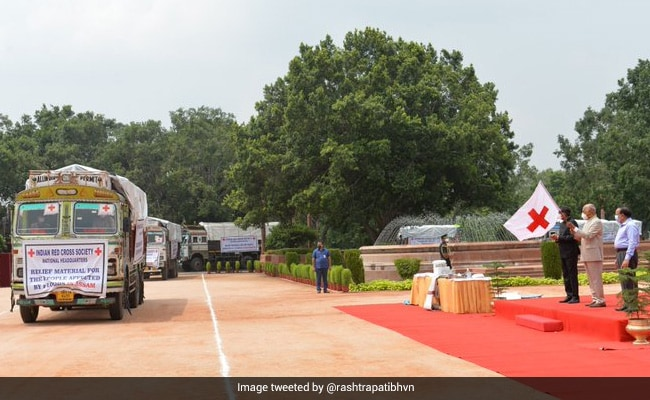 President Flags Off Relief Material For The Flood-Hit In Assam, Bihar, UP