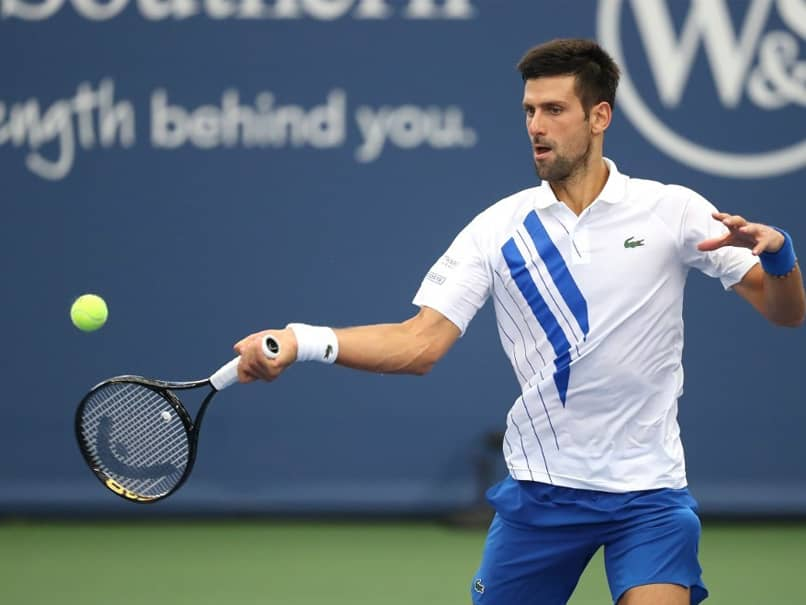 Novak Djokovic In Action On Day One At US Open Bubble
