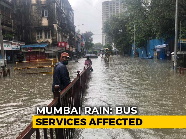 Video : In Mumbai's Parel, People Walk On Road Divider After Rain Floods Road
