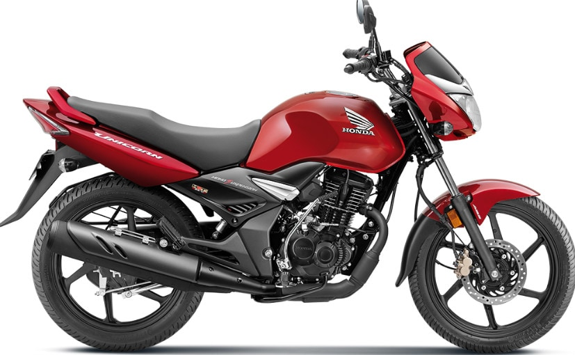 The Honda Unicorn 160 cc motorcycle is priced in India at Rs. 95,152 (ex-showroom, Delhi).