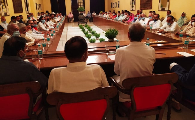 Rajasthan Chief Minister Ashok Gehlot Chairs Meet With Congress MLAs At Jaisalmer Hotel