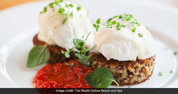 Quinoa Cakes With Basil Chive Cream And Roasted Red Pepper Sauce