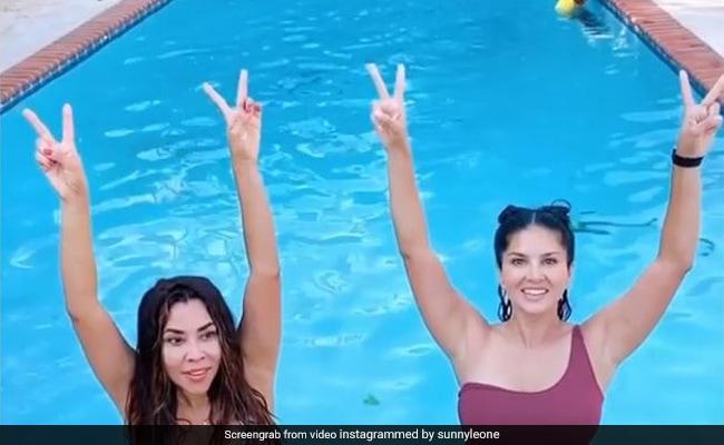 सनी लियोन ने अपनी दोस्त के साथ स्विमिंग पूल में लगाई उल्टी छलांग...देखें Viral Video