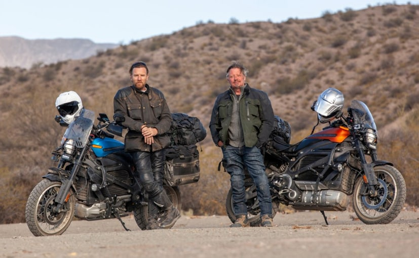 Ewan McGregor and Charley Boorman ride Harley-Davidson Livewire motorcycles through the journey