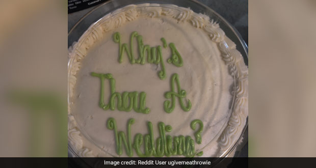 Local Bakery Puts Wrong Text On Wedding Cake, Leaves Internet In Splits!