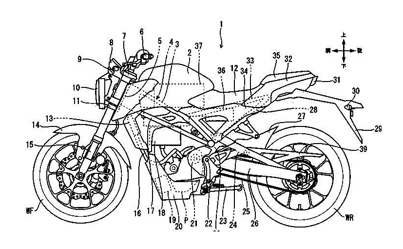 Honda's latest patent images reveal a small electric motorcycle equivalent of a 125 cc motorcycle
