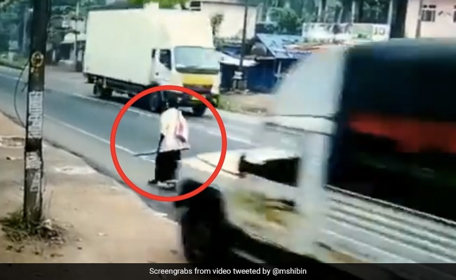 Kerala Man Miraculously Escapes Major Accident In Kollam District See Viral Video