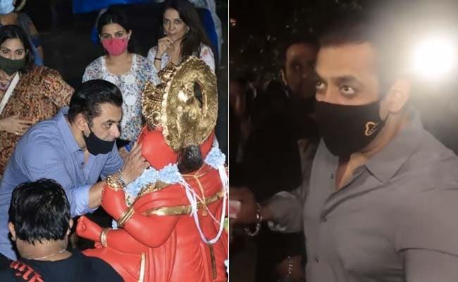 सलमान खान ने परिवार के साथ मिलकर की बप्पा की आरती, फोटोग्राफर्स में भी बांटे मिठाई के डिब्बे- देखें Video