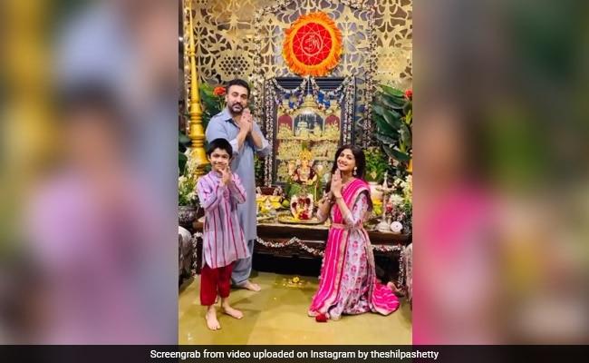 शिल्पा शेट्टी ने घर पर यूं किया 'बप्पा' का स्वागत, पति और बेटे के साथ शेयर किया Video