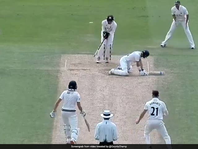 Batsman Goes Tumbling While Trying Reverse-Sweep, Dismissed. Watch