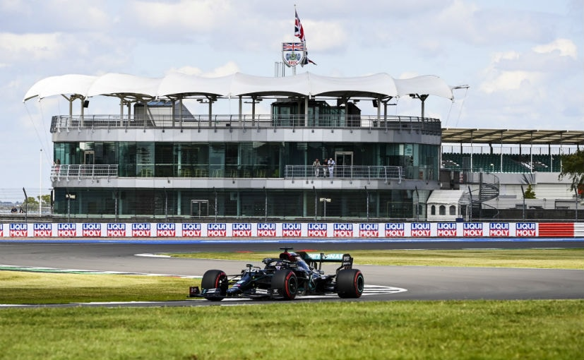 Lewis Hamilton set a new track record with a time 1m24:616s at Silverstone, securing the pole