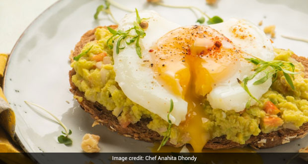 Indian Style Poached Eggs With Spicy Avocado, Cheese and Walnut