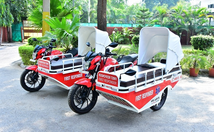 The First Responder Vehicles (FRVs) are based on the Hero Xtreme 200R motorcycle