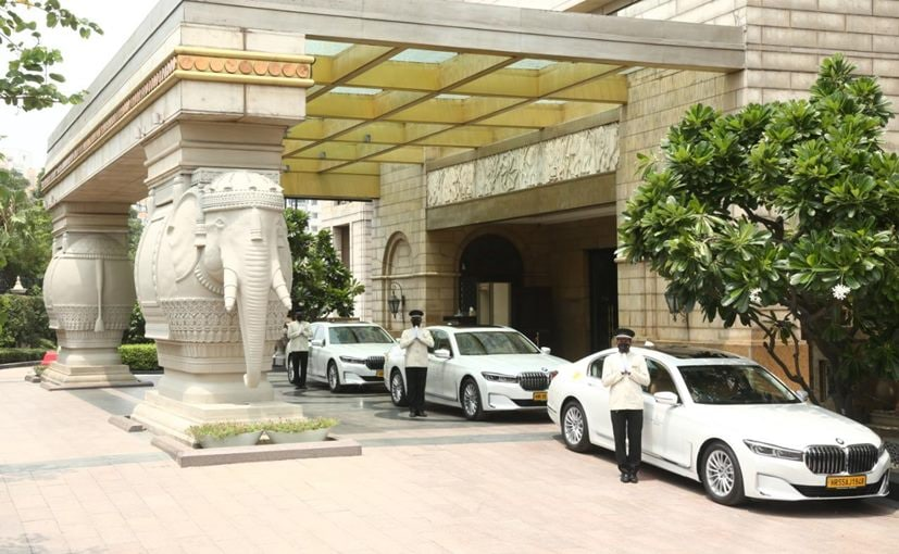 The new fleet of BMW cars outside the The Leela Palace hotel