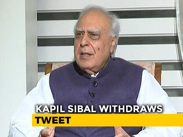 """Video : """"Was Informed By Rahul Gandhi Personally"""": Kapil Sibal Withdraws Tweet"""