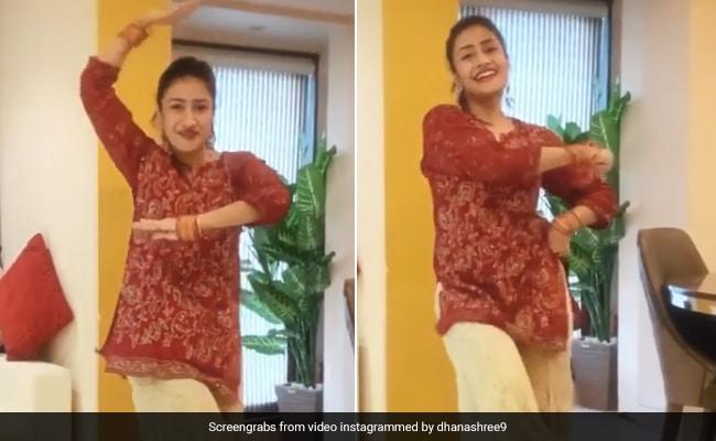 युजवेंद्र चहल की मंगेतर धनाश्री वर्मा ने लाल कुर्ती और सुनहरे प्लाजो में झूमकर किया डांस, देखें Video