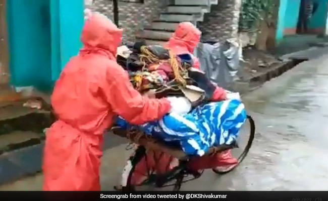 Family Carries Body On Cycle In Rain, Congress Slams Karnataka Government