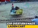 Video : Varanasi Cop Suspended After Video Of Him Damaging Maize Cart Goes Viral