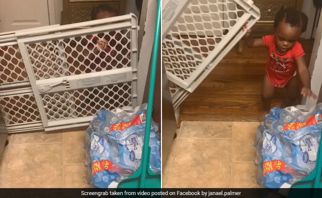 Watch: Mum Buys Gate To Keep Baby Out Of Kitchen. It Doesn't Go As Planned