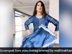 Hina Khan ने हाथ में दुपट्टा लिए Deepika Padukone के 'घूमर' सॉन्ग पर किया डांस, Video ने मचाई धूम
