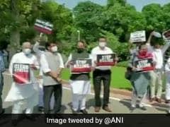 Opposition MPs Protest For GST Dues To States Outside Parliament