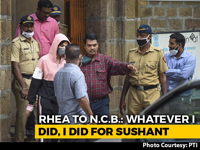 "Video : Rhea Chakraborty Said, ""Whatever I Did, I Did For Sushant"": Investigators"