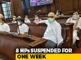 Video : 8 MPs Suspended For Rajya Sabha Chaos Over Farm Bills, Refuse To Leave