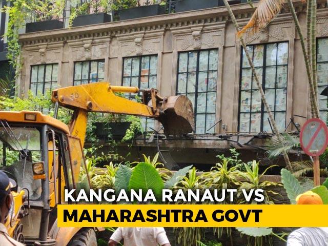 Video : In Kangana Ranaut vs Shiv Sena, Demolition Work At Her Office
