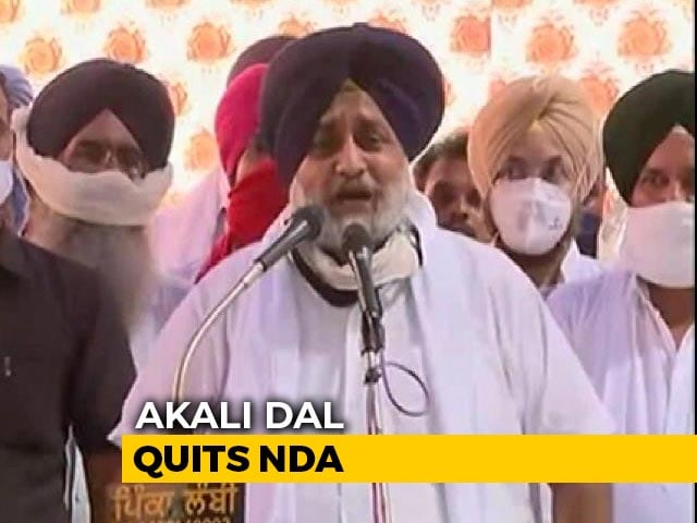 Video : Punjab's Akali Dal Quits BJP-Led Alliance Over Controversial Farm Bills