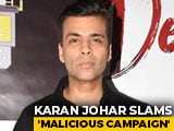 "Video : ""Don't Consume Or Promote Drugs"": Karan Johar Slams ""Malicious Campaign"""