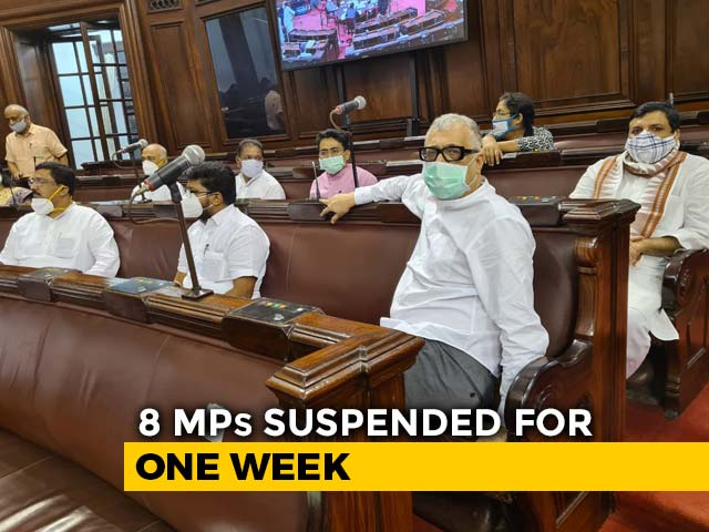 Video : 8 Suspended Rajya Sabha Members Refuse To Leave, Later Protest Outside