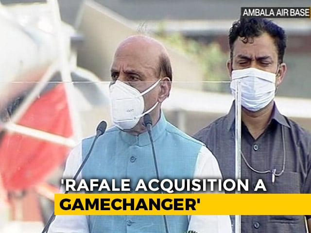 """Video : """"Rafale Will Strengthen India, France Ties"""": Rajnath Singh As 5 Jets Join Air Force"""