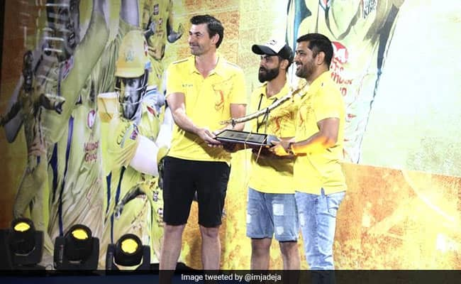 IPL 2020 Ravindra Jadeja Gets A Sword As Gift From Chennai Super Kings watch Video