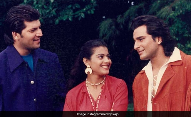 This BTS Pic Of Kajol, Saif Ali Khan And Aditya Pancholi Was Clicked 23 Years Ago. Can You Guess The Film?
