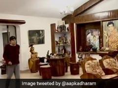 धर्मेंद्र का घर अंदर से है इतना खूबसूरत, बारिश के कारण ड्राइंग रूम में ही टहलते नजर आए एक्टर- देखें Video