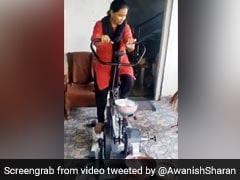गेहूं पीसने के लिए महिला ने निकाला गजब का जुगाड़, साइकिल चलाते हुए निकाला आटा, IAS बोला- 'शानदार' - देखें Video