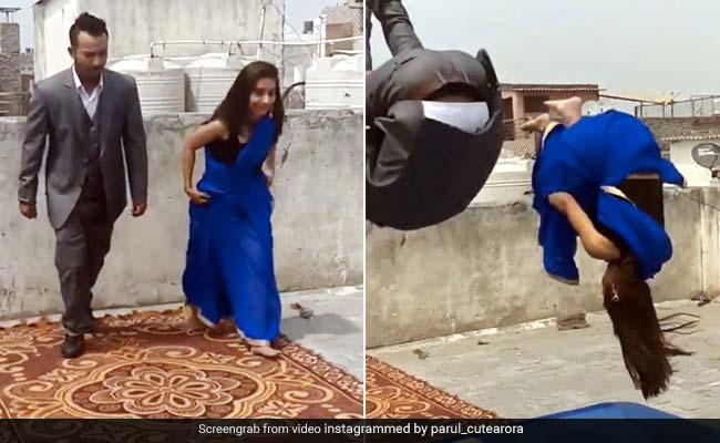 लड़की ने साड़ी पहन मारी ऐसी गुलाटी, देख लोगों के उड़े होश, 1 करोड़ से ज्यादा बार देखा गया Video