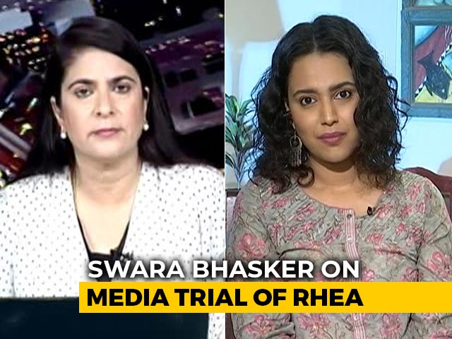 "Video : ""Arrested For Buying Pot"": Swara Bhasker Calls Out Media Trial Of Rhea Chakraborty"