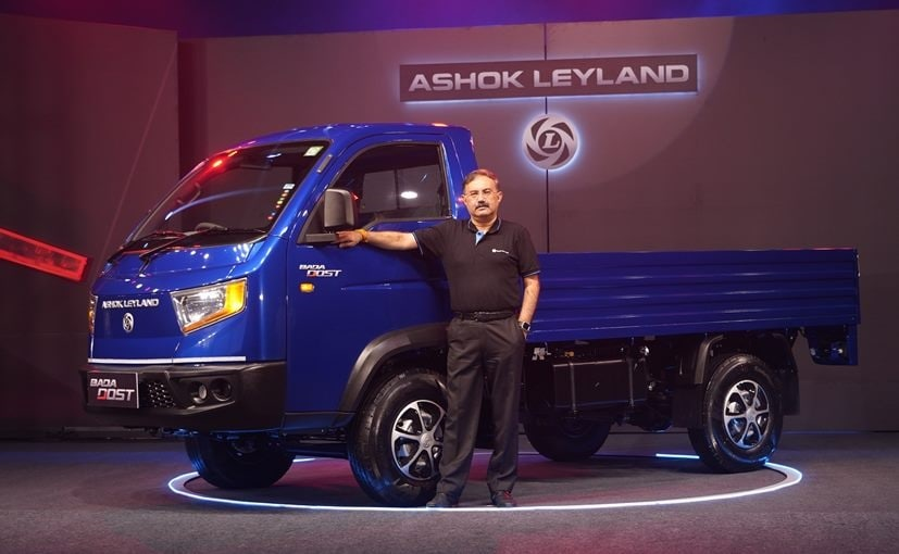 Nitin Seth, COO, Ashok Leyland, with the newly launched Bada Dost Light Commercial Vehicle