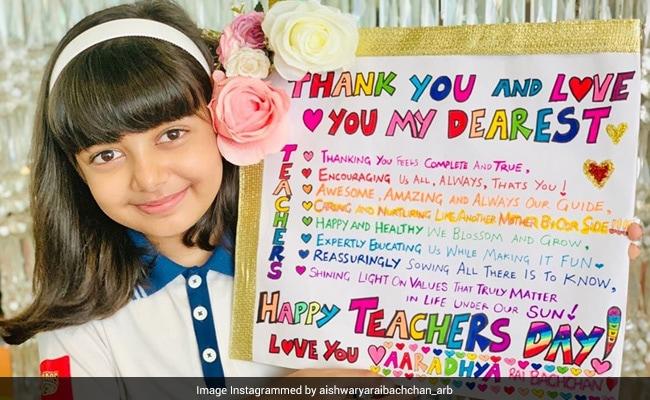Aaradhya's Teachers' Day Greeting Is As Adorable As Her. Pic Courtesy Aishwarya Rai Bachchan