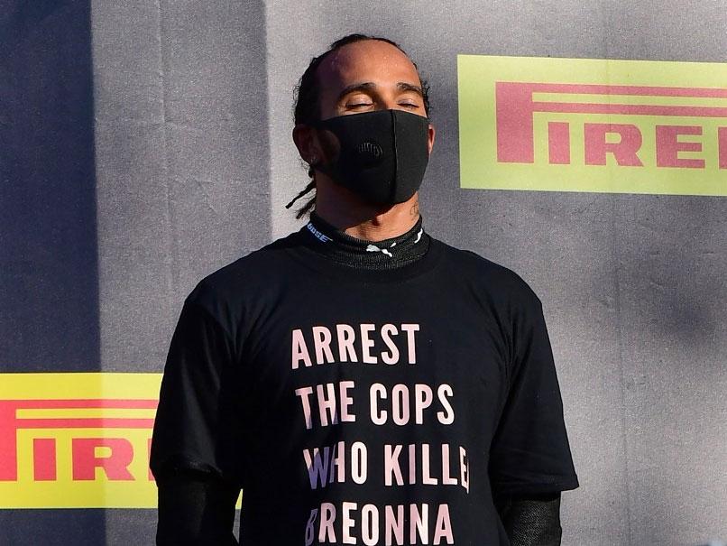 Hamilton wearing the Breonna Taylor t-shirt