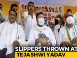 Video : On Camera, Slippers Thrown At RJD's Tejashwi Yadav At Bihar Poll Rally