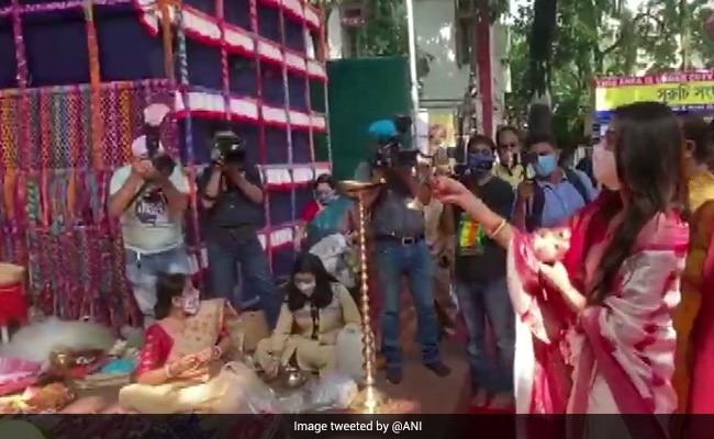 Watch: TMC's Nusrat Jahan Dances, Plays Dhak Amid Durga Puja Celebrations