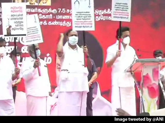 Video : Tamil Nadu Polls Nearing, MK Stalin Leads Medical Reservation Protest