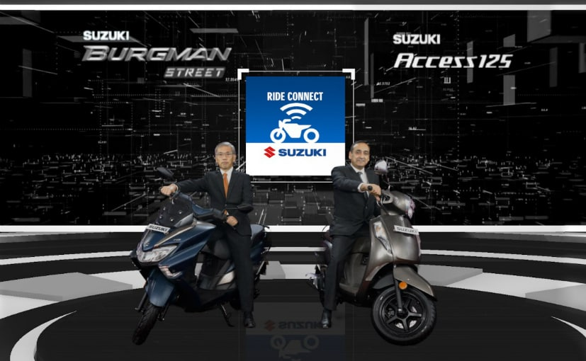 K Hirao, MD and D Handa, VP, Suzuki Motorcycle India, with the Bluetooth-enabled Suzuki scooters