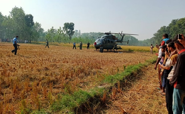 IAF Choppers Makes Precautionary Landing In UP Field, Huge Crowd Gathers